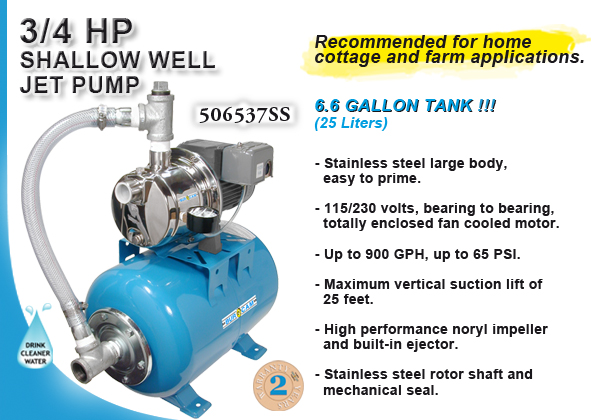 burcam water in pumps and systems s w stainless steel jet on ml25h tank 3 4hp 115v 230